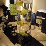 Floating green Cybidium Orchid centerpiece.