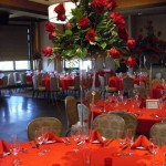 All red rose high-style centerpiece.