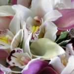 Detail of Cymbidium Orchid and Calla Lily bridal bouquet.