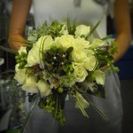 Classy yet unique bridal bouquet of whites, pewter, and greens.