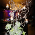 Crystal tree with hanging candles.