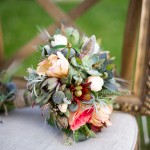 Succulent bouquet with French tulips, Garden Roses, Peony buds, and metallic Billy Balls.