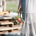 Rustic, Bohemian wedding bouquet wrapped in twine.