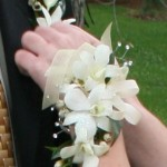 White Orchid Wristlet with Rhinestones