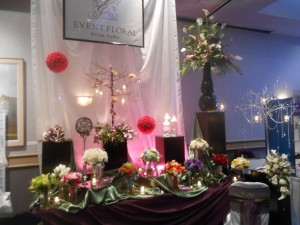 Event Floral's display for Giovanni's Rockford's Own Bridal Expo 2013.