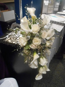 Large crystals give this cascade bridal bouquet a modern edge.