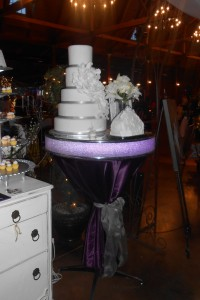 This modern cake stand can be lit to your custom colors.