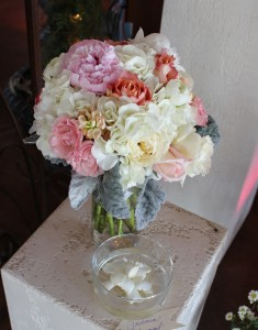 Gorgeous rustic elegance bouquet of Hydrangea, Peonies, Garden Roses and Dusty Miller.