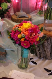 Colorful bouquet in warm tones. Fun colors and textures.