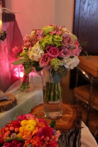 Pretty bouquet in soft pinks and light greens.