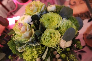 A close look at the textures of Garden Roses, Kale, Hydrangea, Berries, and Ranunculus.