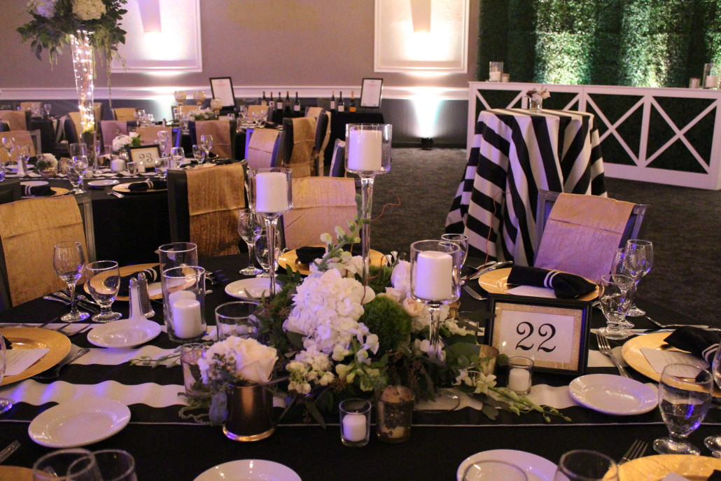 ... Black And Striped Tablecloths. 62nd Annual Osf Pink Ball Event Fl  Special